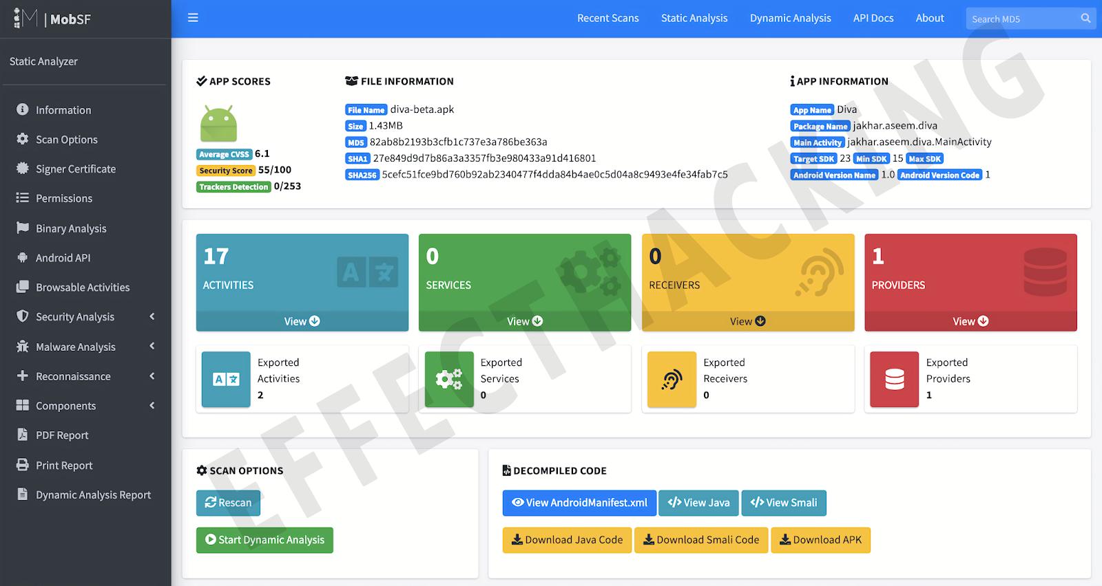 MobSF Android स्थैतिक विश्लेषण स्क्रीनशॉट
